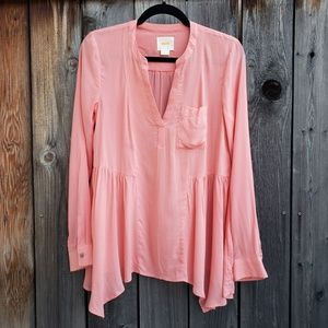 Anthropologie Maeve Light Coral Long Sleeve Top